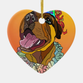 Digital Pet Drawings Ceramic Heart Ornament