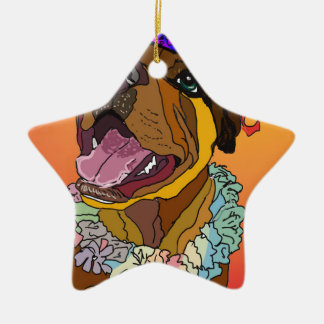 Digital Pet Drawings Ceramic Star Ornament