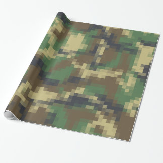 Digital Pixel Camouflage Pattern Wrapping Paper