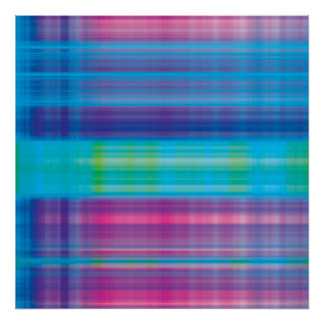 Digital Plaid Pink Blue Green Poster