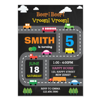 Digital Printable Transport Birthday Invitation