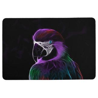 Digital purple parrot fractal floor mat