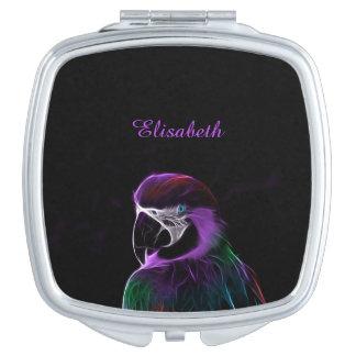 Digital purple parrot fractal name black makeup mirrors