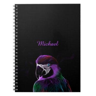 Digital purple parrot fractal spiral notebook