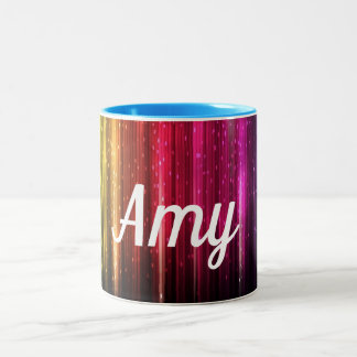 Digital Rainbow With your Name Two-Tone Coffee Mug