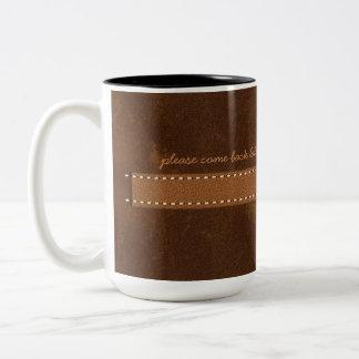 Digital Raw Hide Brown Leather Stitch Strap Funny Two-Tone Coffee Mug