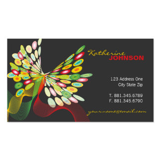Digital Retro Modern Butterfly Fly Abstract Art Business Card