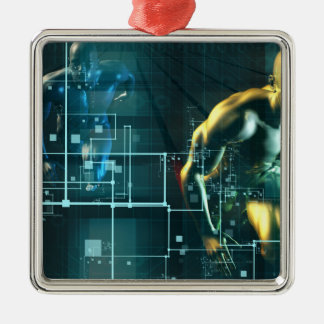 Digital Revolution and the Race for New Consumer Silver-Colored Square Ornament