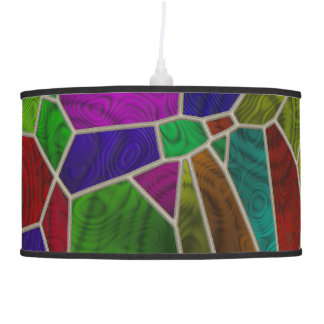 Digital Stain Glass Pendant Lamp by Julie Everhart