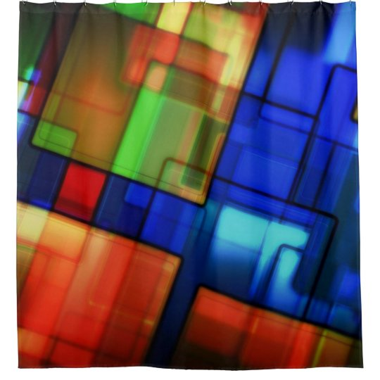 Digital Stained Glass Shower Curtain