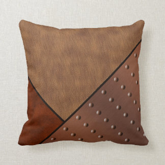 Digital Suede Cream Horse Hair Rivet Copper Throw Pillow
