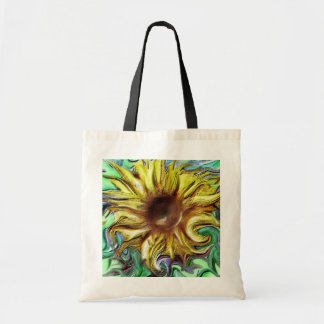 Digital sunflower slightly abstract budget tote bag