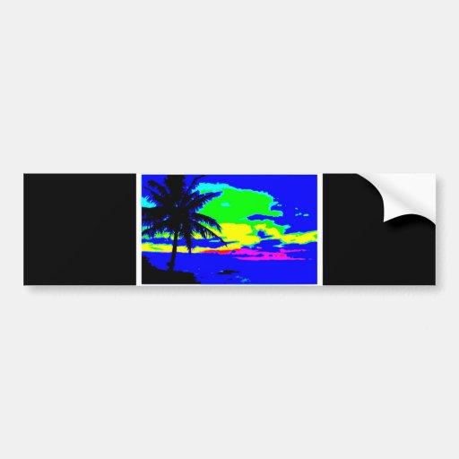 DIGITAL SUNRISE TROPICAL COLORFUL SURF SURFER BUMPER STICKERS