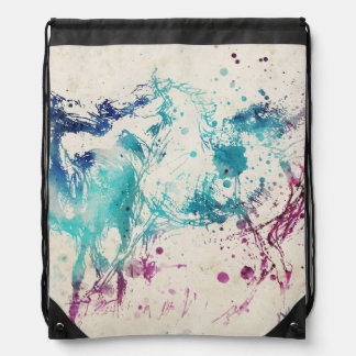Digital Watercolor Painting Of Arabian Horses Drawstring Bag