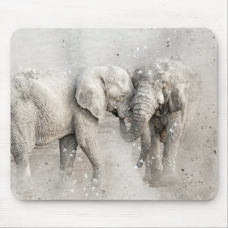 Digital watercolour elephant mouse pad