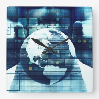 Digital World and Technology Lifestyle Industry Square Wall Clock