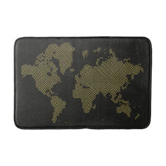 Digital World Map Bath Mat