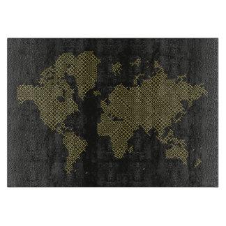 Digital World Map Cutting Board