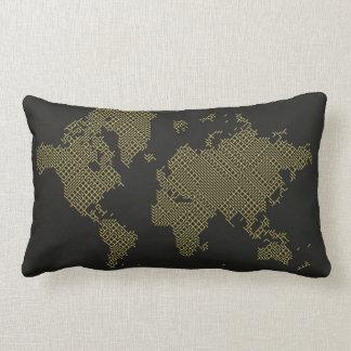 Digital World Map Lumbar Pillow