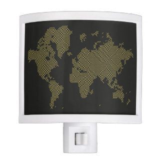 Digital World Map Nite Lights