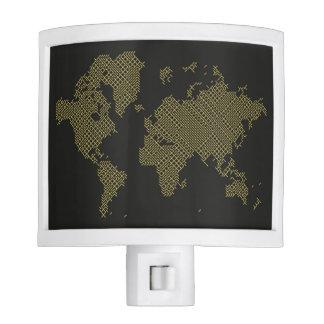Digital World Map Nite Lights