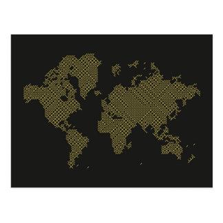 Digital World Map Postcard