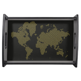 Digital World Map Serving Tray