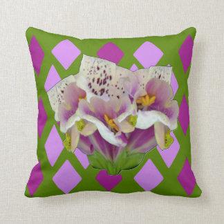 Digitalis Purpurea Purples Diamonds Throw Pillow