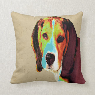 Digitally Colored  Beagle Throw Pillow