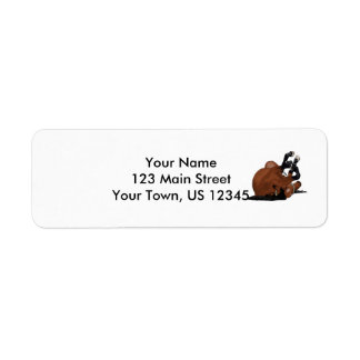 Digitally Drawn Bay or Brown Horse Rolling on Back Return Address Label