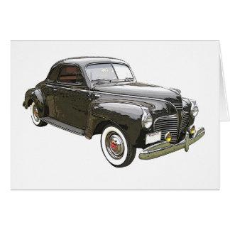 Digitally enhanced image of a black 1941 Plymouth Card