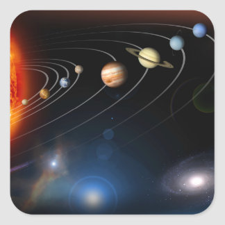 Digitally generated image of our solar system square sticker