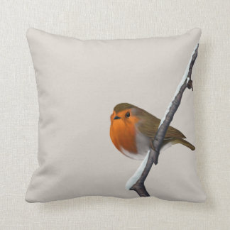 Digitally Hand Painted Red Robin Square Pillow