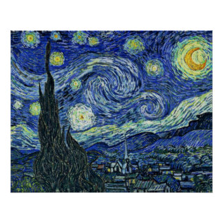 Digitally Modified Starry Night Van Gogh blurred Poster