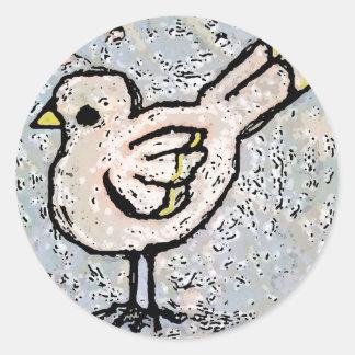 digtally enhanced bird round sticker