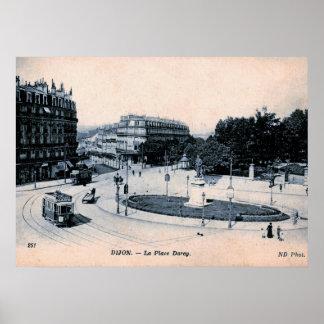 Dijon, France, La Place Darcy, Vintage Poster