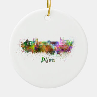 Dijon skyline in watercolor ceramic ornament