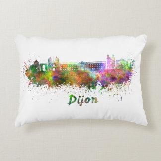 Dijon skyline in watercolor decorative pillow