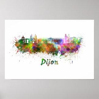 Dijon skyline in watercolor poster