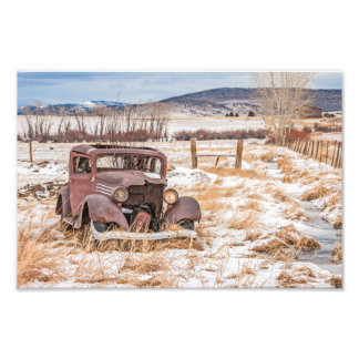 Dilapidated Old Vehicle, Winter, Rural, Mountains Photo Print