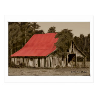 Dilapidated Red-Roofed Barn Postcard