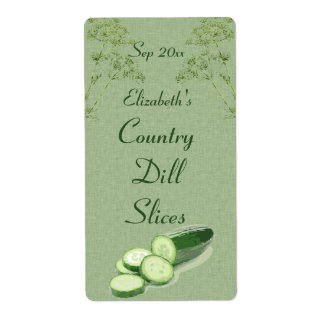 Dill and Sliced Cucumber on Pale Green Canvas Shipping Label