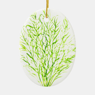 Dill herbs Dill watercolour Ceramic Oval Ornament