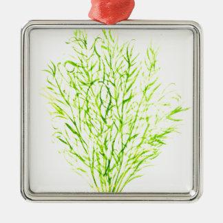 Dill herbs Dill watercolour Silver-Colored Square Ornament