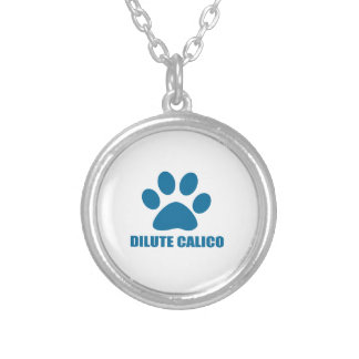 DILUTE CALICO CAT DESIGNS SILVER PLATED NECKLACE