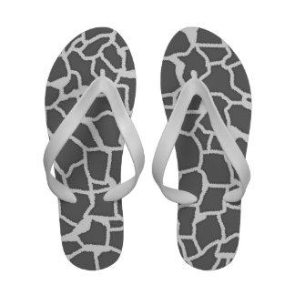 Dim Gray Giraffe Animal Print Flip Flops