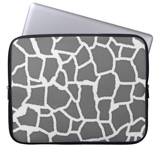 Dim Gray Giraffe Animal Print Laptop Sleeves