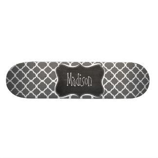 Dim Gray Quatrefoil; Chalkboard look Skate Board