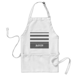 Dim Gray Stripes; Personalized Adult Apron