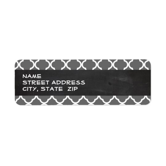 Dim Grey Quatrefoil; Chalkboard look Return Address Label